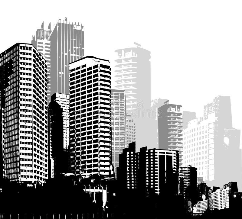 Città in bianco e nero di panorama illustrazione di stock
