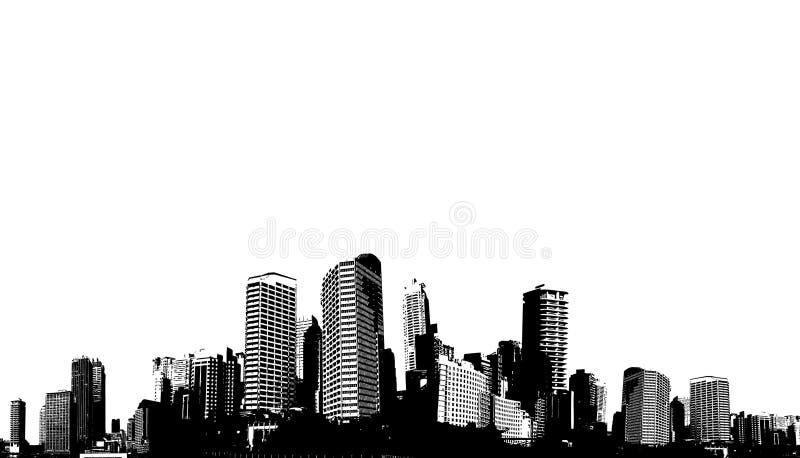 Città in bianco e nero di panorama. royalty illustrazione gratis