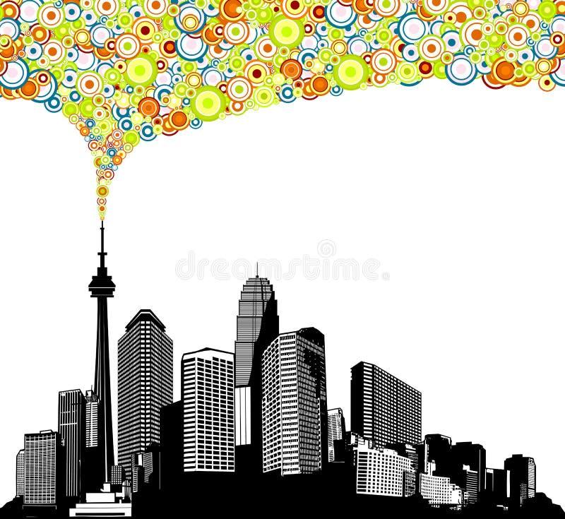 Città in bianco e nero di panorama con i grattacieli illustrazione di stock
