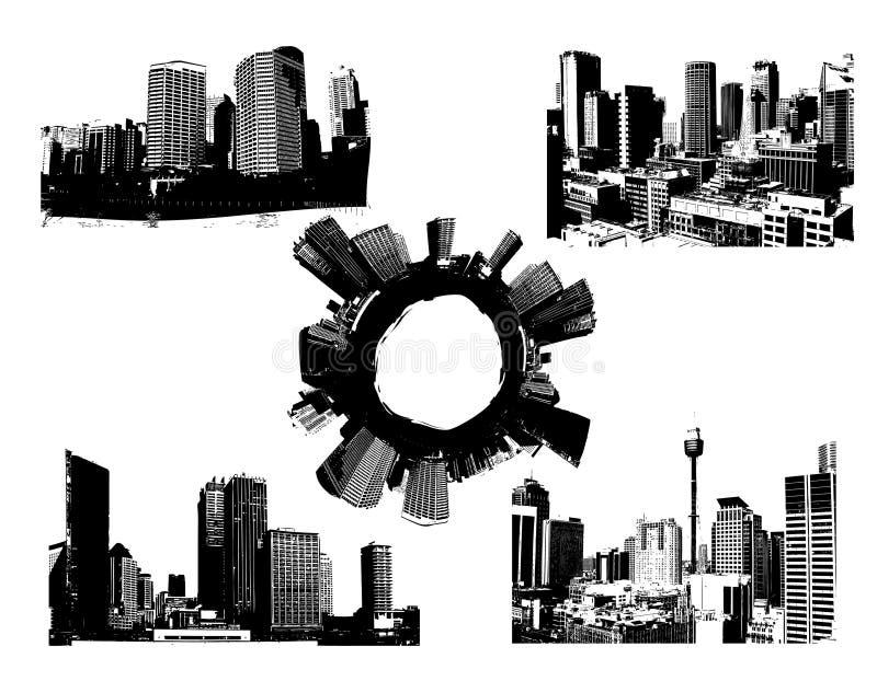 Città in bianco e nero di panorama. Vettore royalty illustrazione gratis