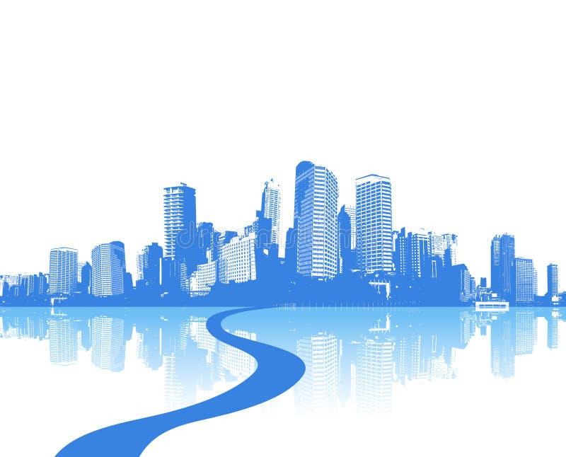 Città blu con la riflessione. Vettore illustrazione vettoriale