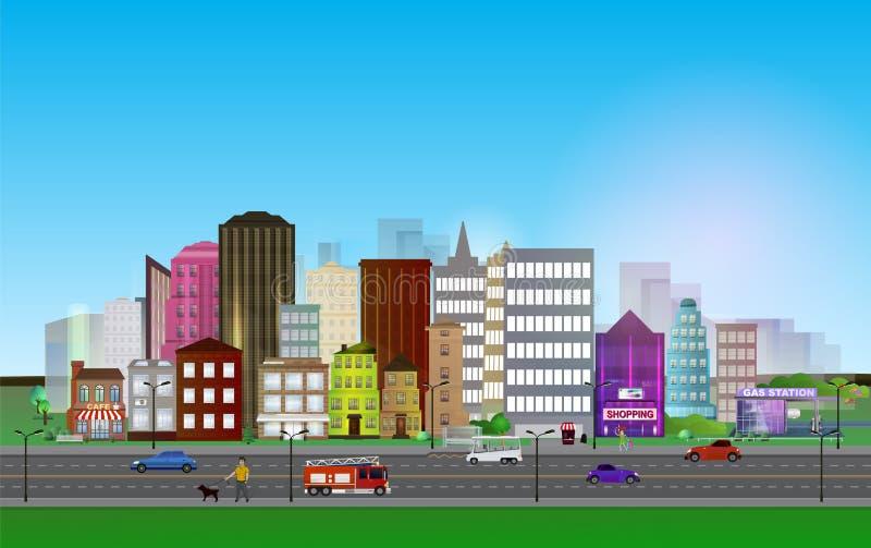 """Città-BuildingsOnBlue [ del  °à di ۈ del  à ±à del ¿ à del  di à """"ۈ  Â?à  ¾ """"·Ã  ¾ à  ² à  °à  ½ à  illustrazione vettoriale"""