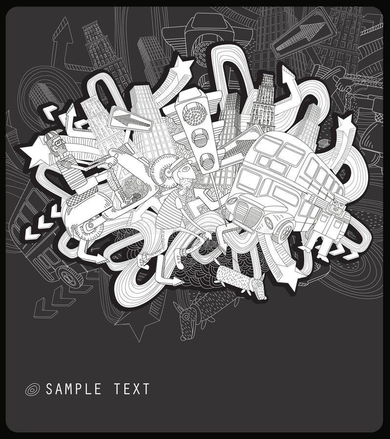 Città caotica del disegno a tratteggio - vettore illustrazione vettoriale