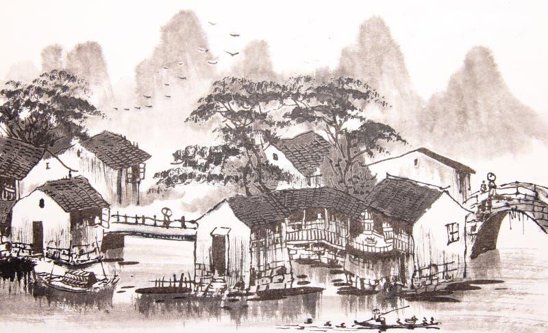 Città cinese dell'acqua del disegno illustrazione vettoriale