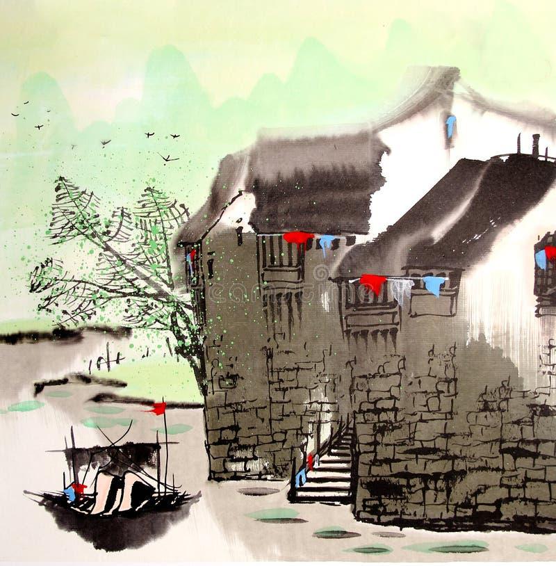 Città cinese dell'acqua del disegno illustrazione di stock