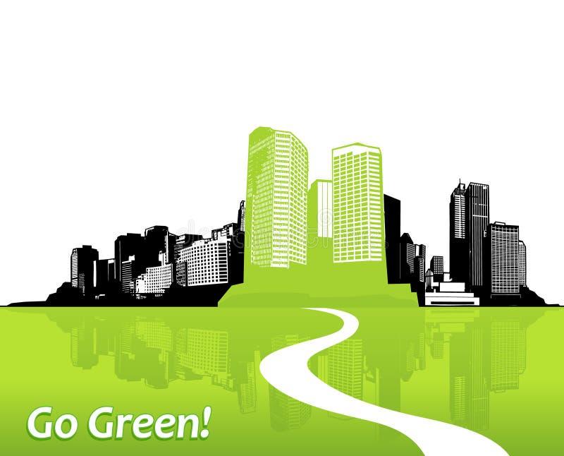 Città con erba verde. illustrazione di stock