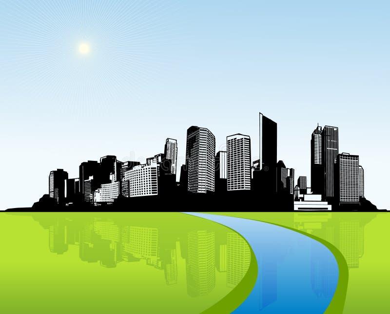 Città con erba verde. illustrazione vettoriale