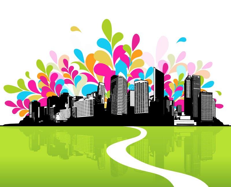 Città con erba verde. royalty illustrazione gratis