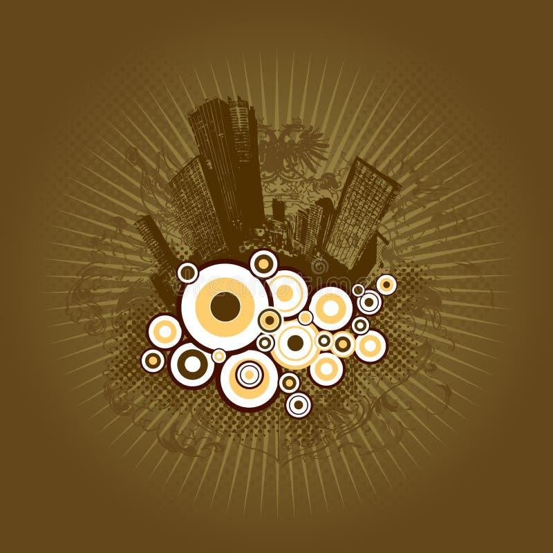Città con i cerchi. illustrazione di stock