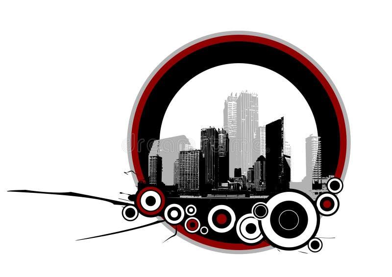 Città con i cerchi. Vettore illustrazione di stock