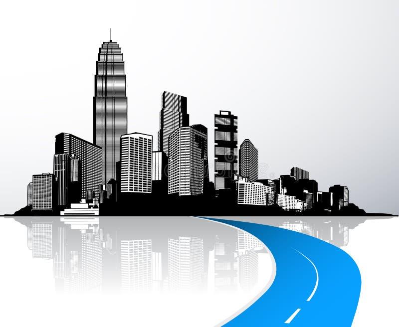 Città con i grattacieli riflessi in acqua illustrazione di stock