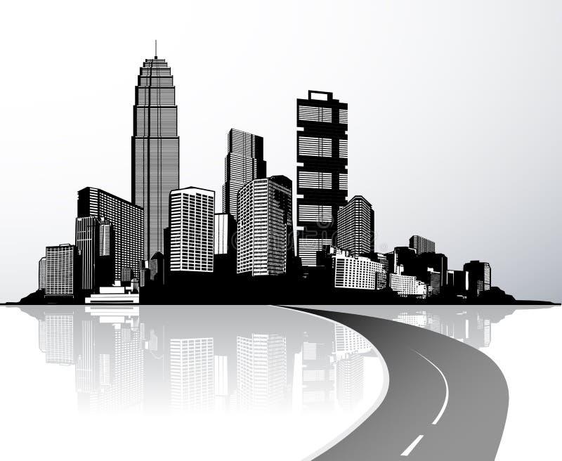 Città con i grattacieli riflessi in acqua royalty illustrazione gratis