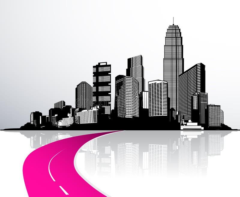 Città con i grattacieli riflessi in acqua illustrazione vettoriale