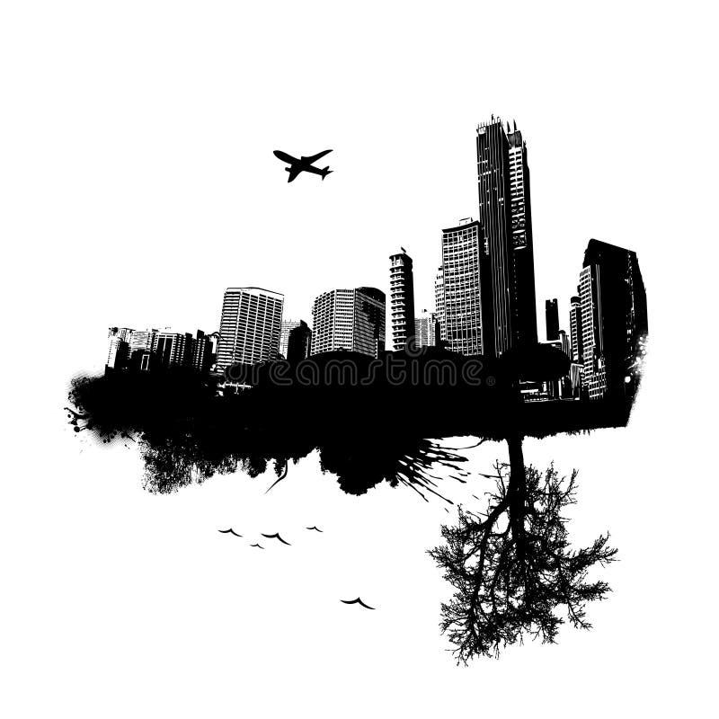 Città con la natura. Vettore illustrazione vettoriale
