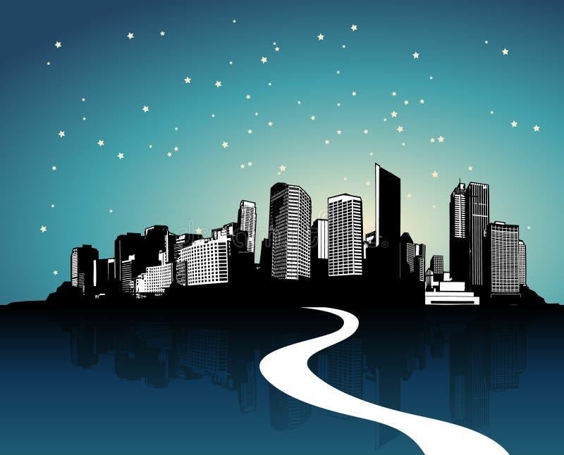 Città con la riflessione. illustrazione vettoriale