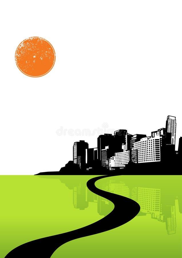 Città con la riflessione verde. illustrazione di stock