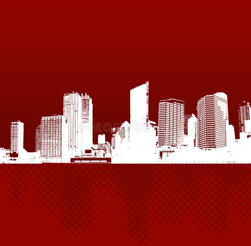Città con la riflessione. Vettore illustrazione vettoriale