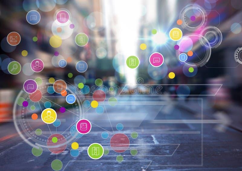 Città con la transizione variopinta delle icone di app fotografia stock libera da diritti