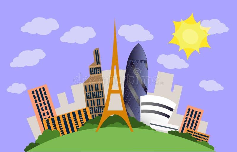Città con le costruzioni contemporanee royalty illustrazione gratis
