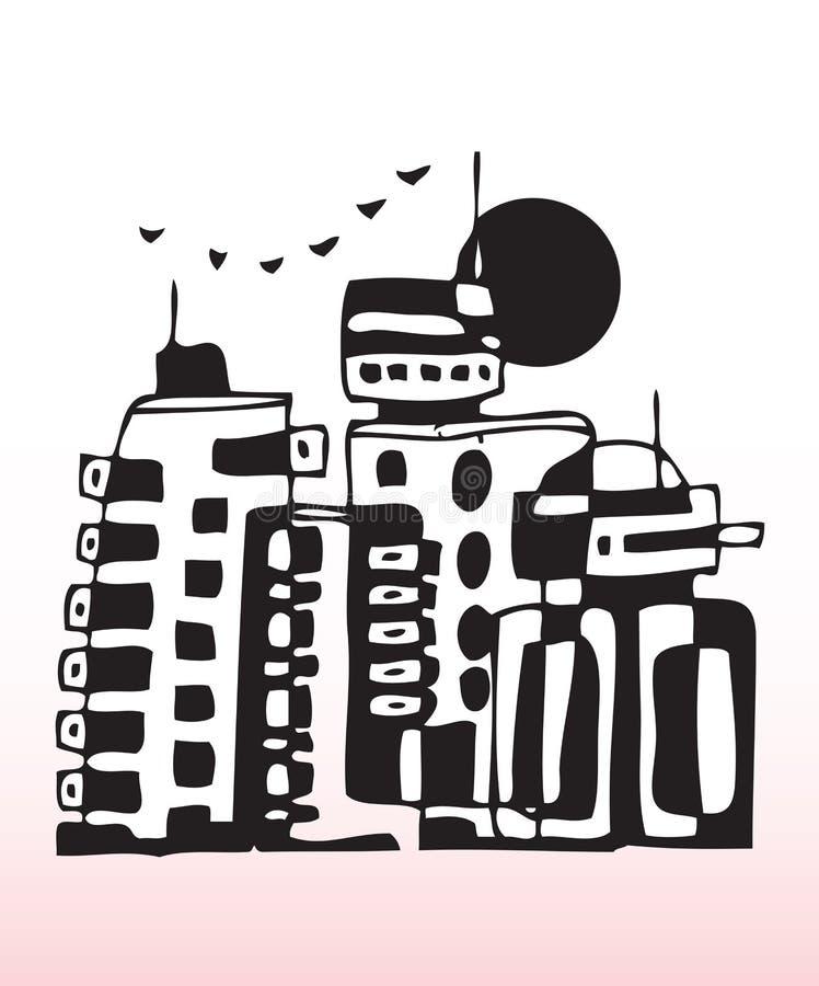 Città concreta illustrazione di stock