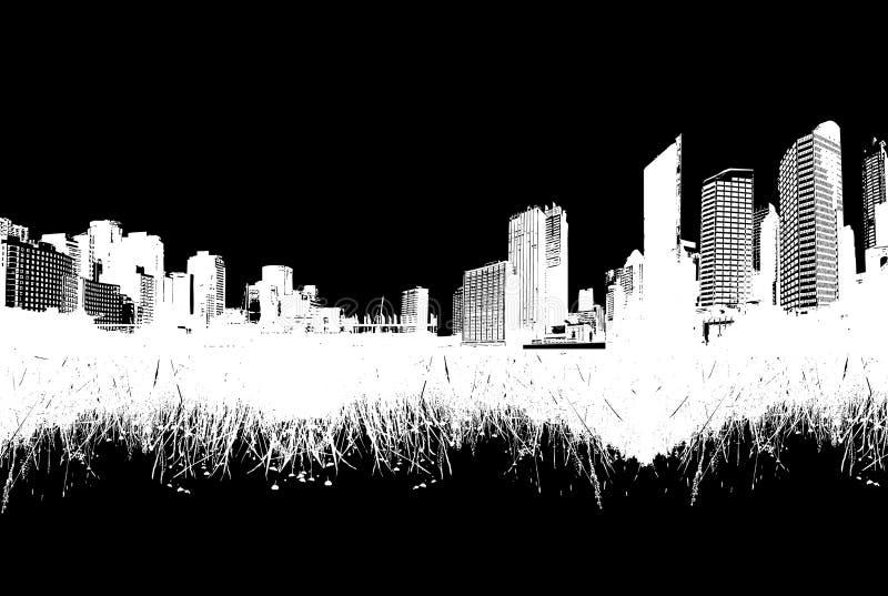 Città contro la natura. Vettore illustrazione vettoriale