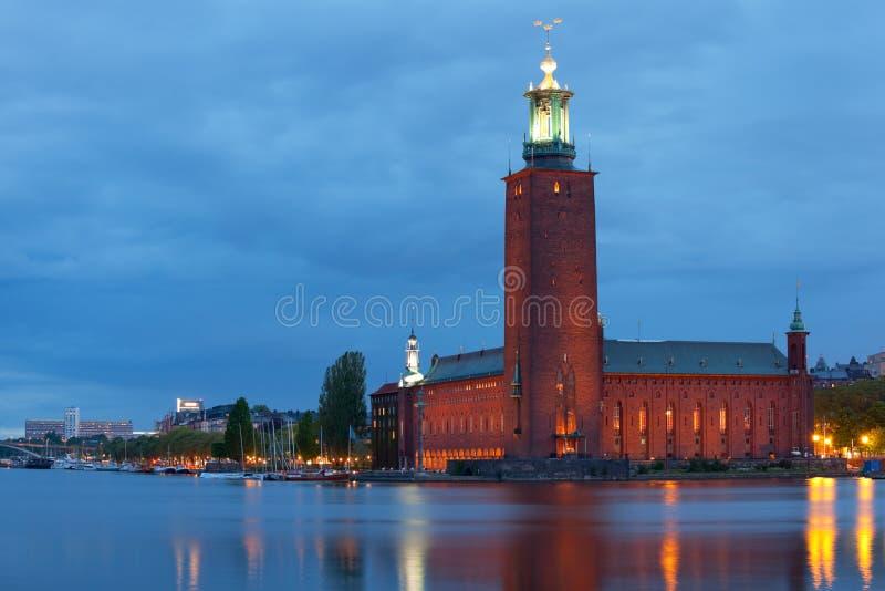 Città corridoio di Stoccolma alla notte fotografie stock libere da diritti