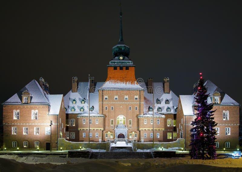 Città corridoio a Ostersund alla sera di inverno fotografia stock libera da diritti