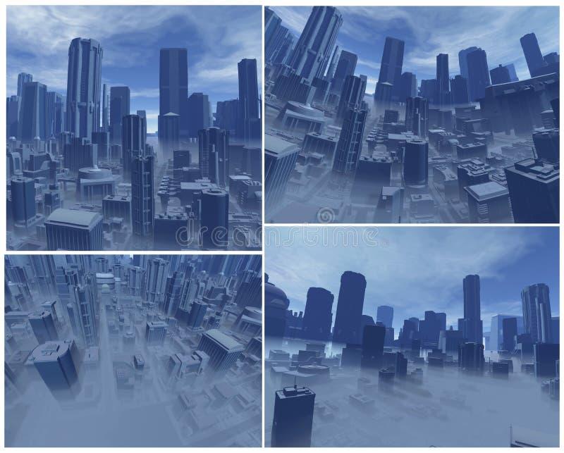 città 3D con nebbia illustrazione vettoriale