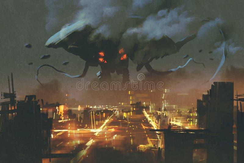 Città d'invasione di notte del mostro straniero royalty illustrazione gratis
