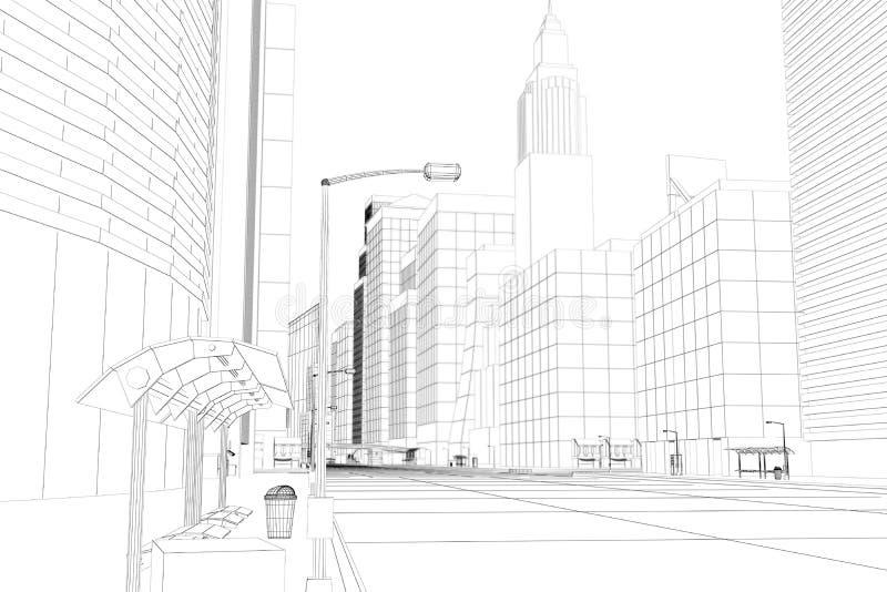 Città del blocco per grafici del collegare illustrazione di stock