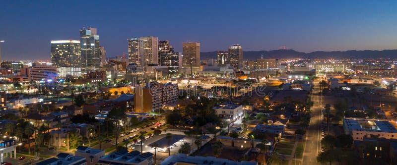 Città del capitale dello Stato di Phoenix di vista aerea della città del centro Skylne dell'Arizona fotografie stock libere da diritti