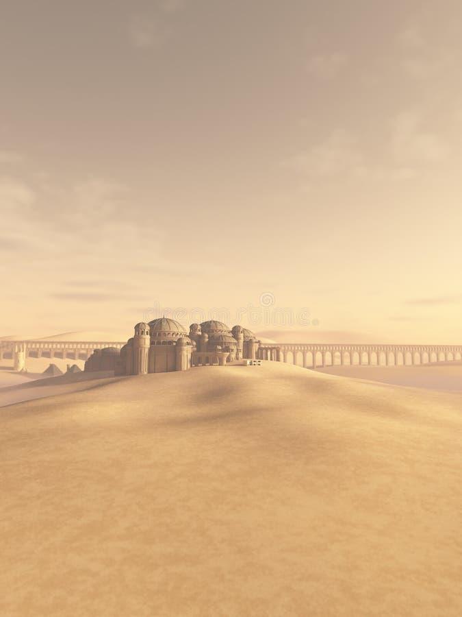 Città del deserto inghiottita dalla sabbia illustrazione vettoriale