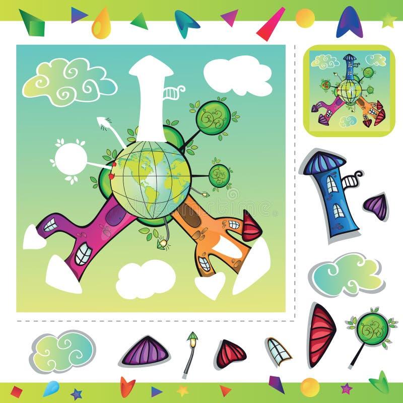Città del fumetto - puzzle illustrazione vettoriale