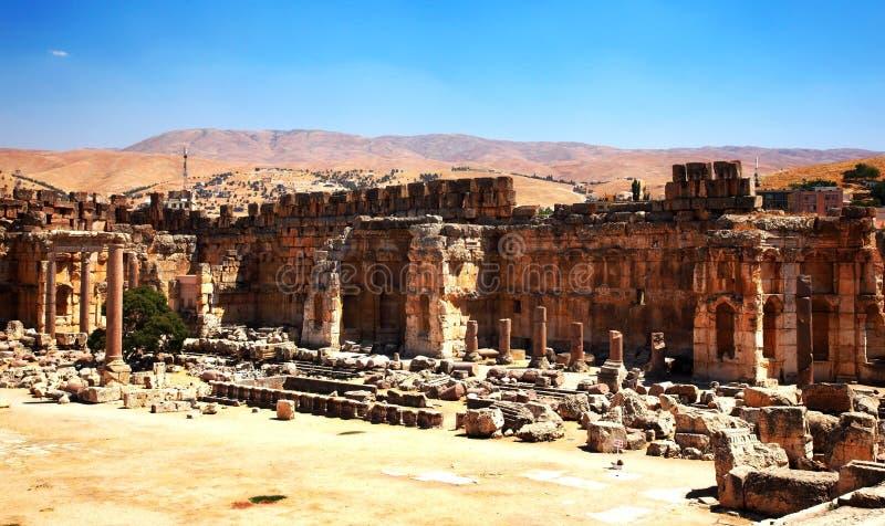 Città del tempiale del Jupiter, Baalbek, Libano fotografie stock libere da diritti