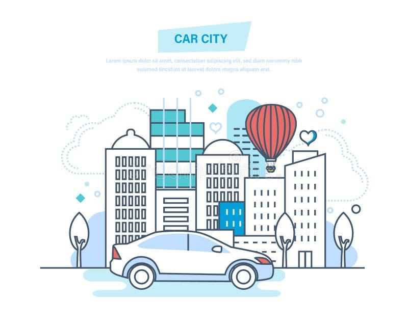Città dell'automobile Macchina, movente, giro in parco, spettacolo fuori casa illustrazione di stock