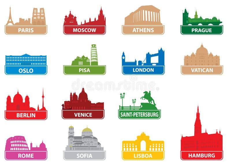 Città dell'europeo di simboli royalty illustrazione gratis