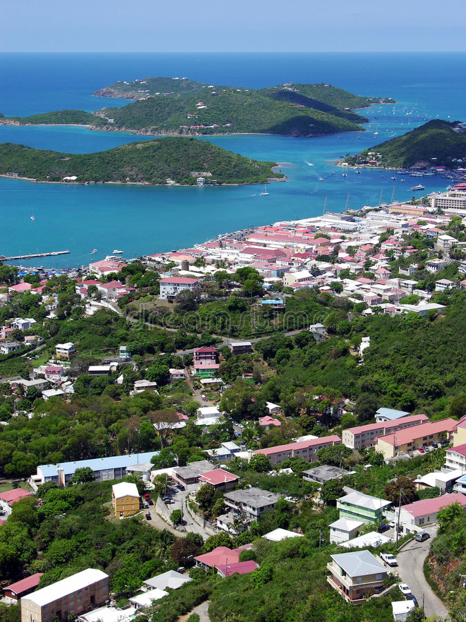 Città dell'isola di St.Thomas immagini stock libere da diritti