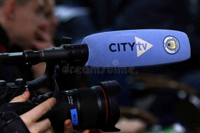 Città dell'uomo di Shakhtar v di UEFA Champions League Stampa-conferenza immagine stock libera da diritti