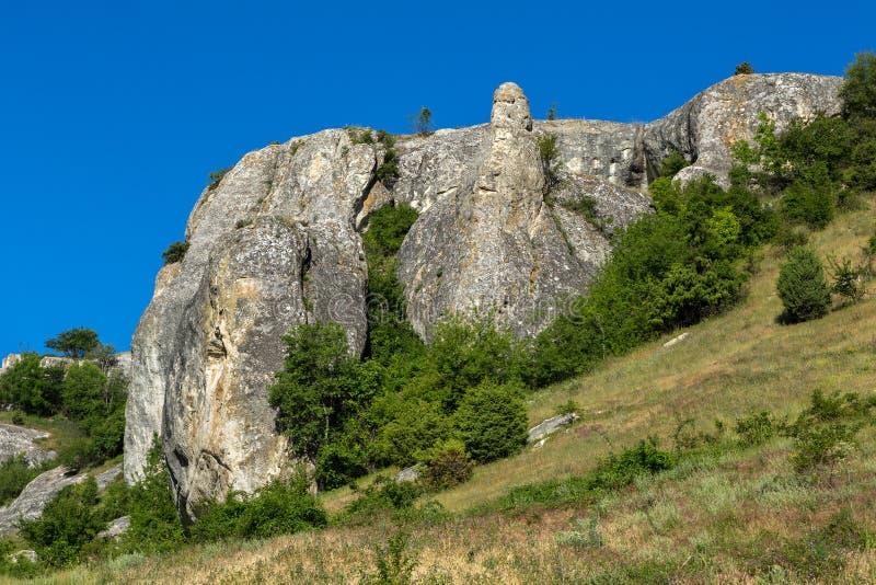 Città della caverna in valle di Cherkez-Kermen, Crimea fotografia stock libera da diritti