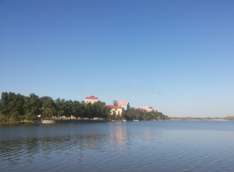 Città della Cina Huludao, Riserva-lago della natura di HongLuoshan fotografia stock libera da diritti