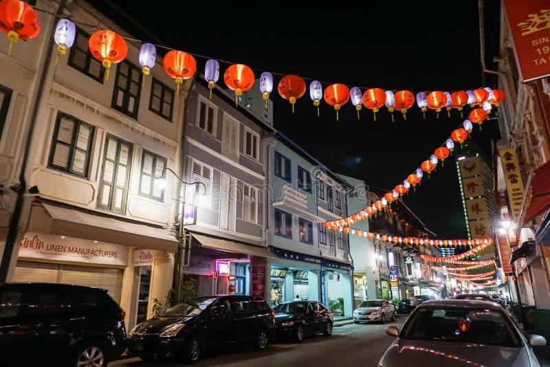 Città della Cina a Singapore contenuta notte immagini stock
