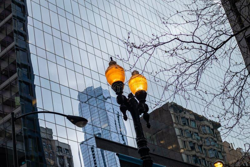 Città della città di Chicago, lampade di via illuminate sul fondo dei grattacieli fotografia stock