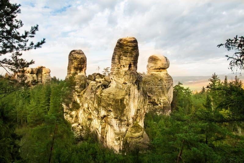 Città della roccia nel paradiso della Boemia immagini stock