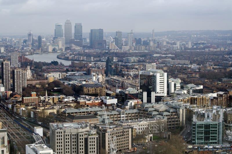 Città della vista di Londra verso i Docklands fotografia stock libera da diritti