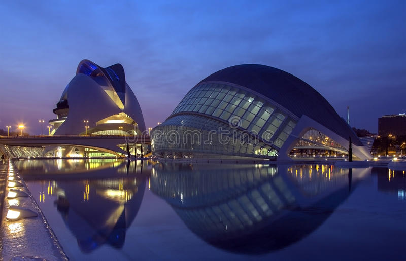 Città delle arti & delle scienze - Valencia - Spagna fotografia stock libera da diritti
