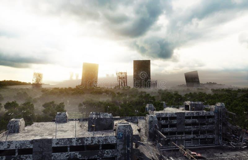Città di apocalisse in nebbia Vista aerea della città distrutta Concetto di apocalisse rappresentazione 3d illustrazione vettoriale
