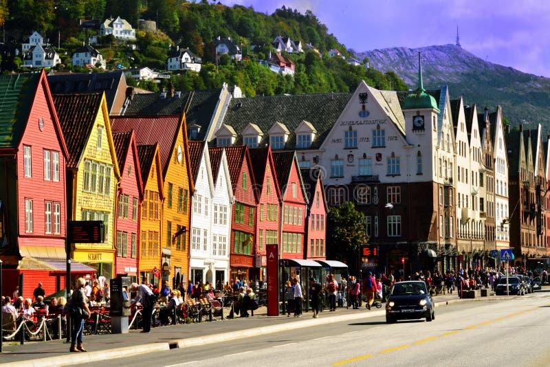 Città di Bergen, Norvegia fotografia stock libera da diritti