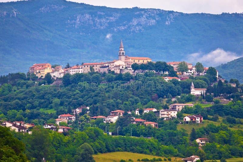 Città di Buzet sulla collina istrian verde immagine stock