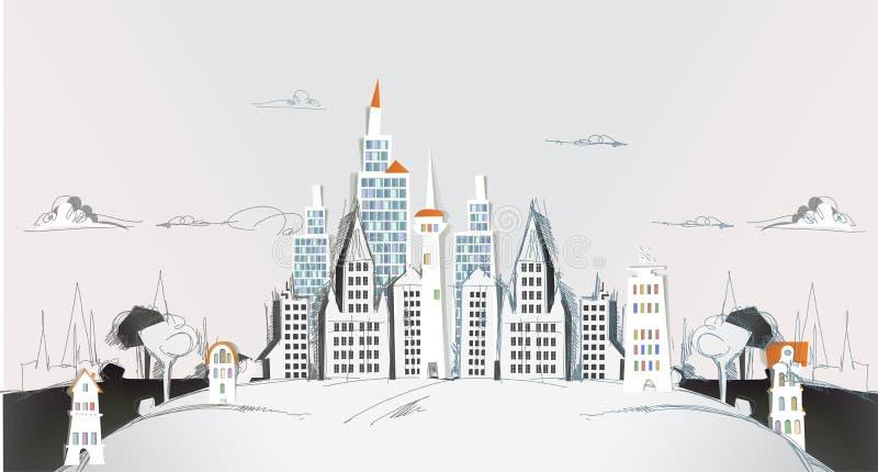 Città di carta strappata, raccolta della città illustrazione vettoriale