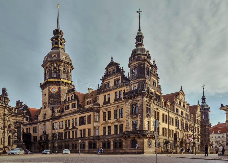 Città di Dresda saxony germany Centro di vecchia città fotografia stock libera da diritti